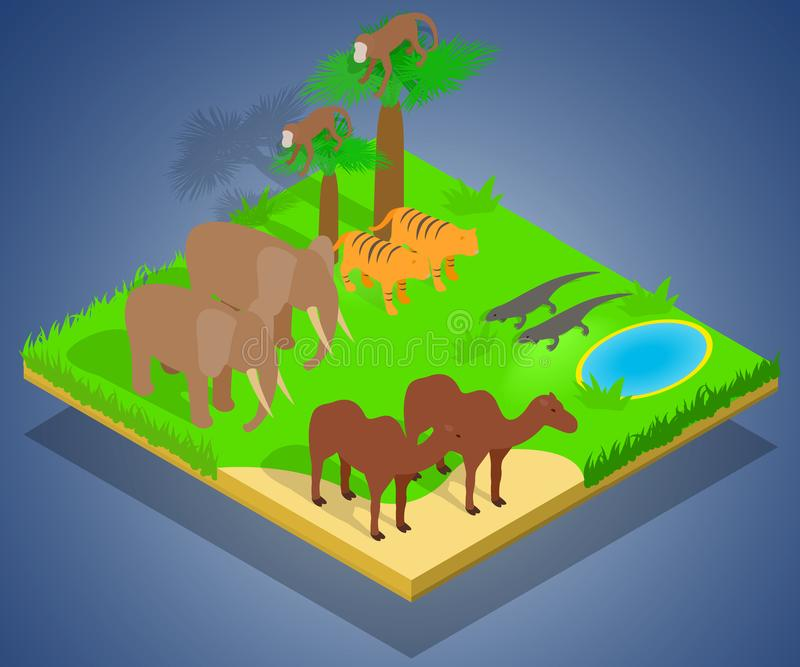 Creature concept banner, isometric style. Creature concept banner. Isometric banner of creature vector concept for web, giftcard and postcard vector illustration