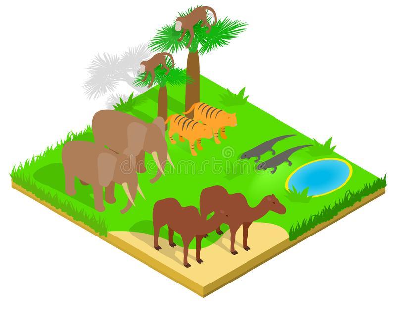 Creature concept banner, isometric style. Creature concept banner. Isometric banner of creature vector concept for web, giftcard and postcard stock illustration