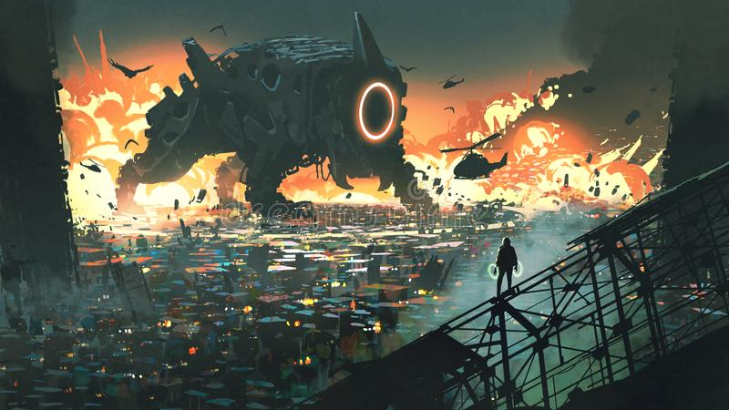 The creature machine invading city. Sci-fi scene of the creature machine invading city, digital art style, illustration painting vector illustration