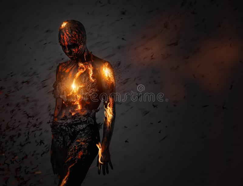 Creature made from lava. And fire royalty free stock images