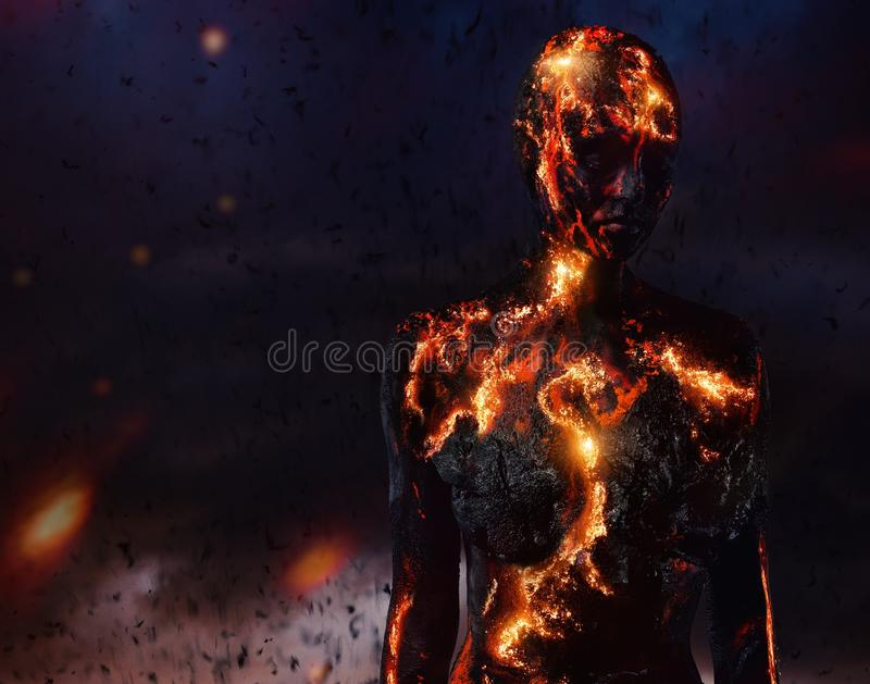 Creature made from lava. And fire stock image