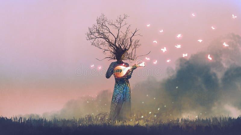 Creature playing the magic banjo string instrument. Creature with branch head playing magic banjo string instrument with glowing butterflies, digital art style stock illustration