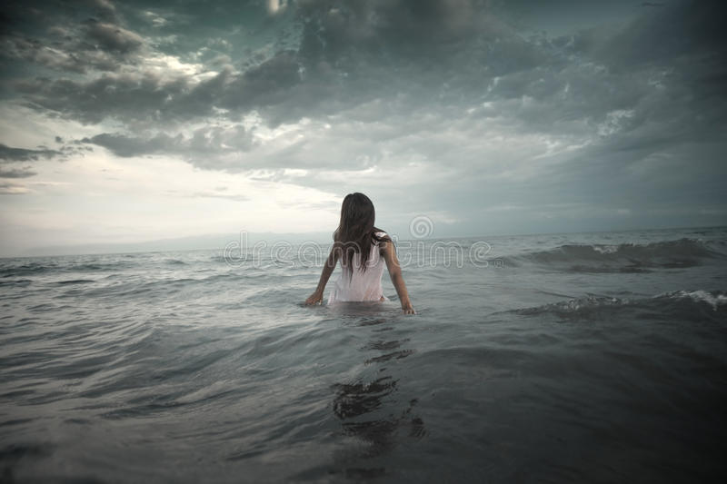 Download Creature in the sea stock image. Image of single, girl - 18346163