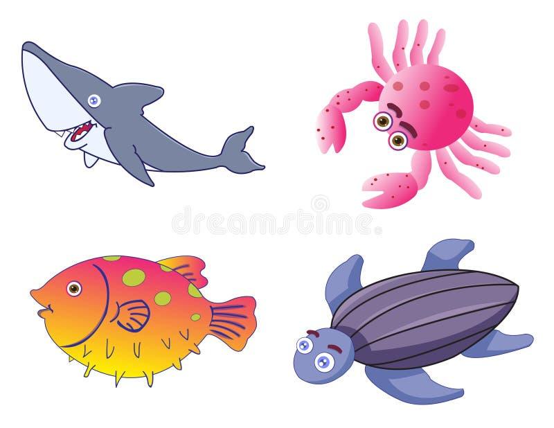 Creature sveglie Assorted del mare nel vettore illustrazione di stock