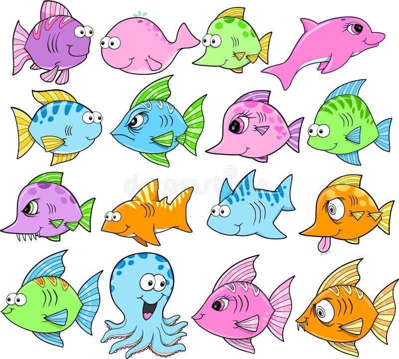 Creature sveglie dell'oceano impostate illustrazione vettoriale