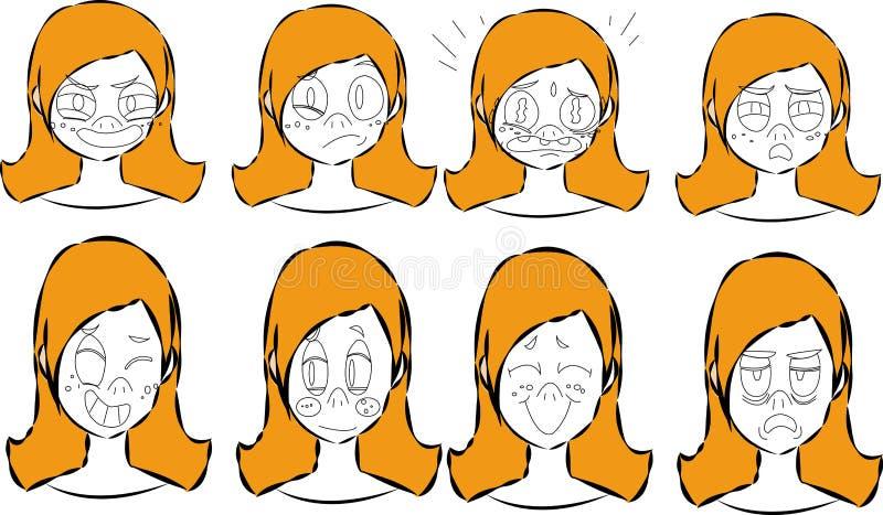 Creazione del carattere messa con le vari viste, emozioni del fronte, sincronizzazione di labbro, pose e gesti Parti separate del illustrazione di stock