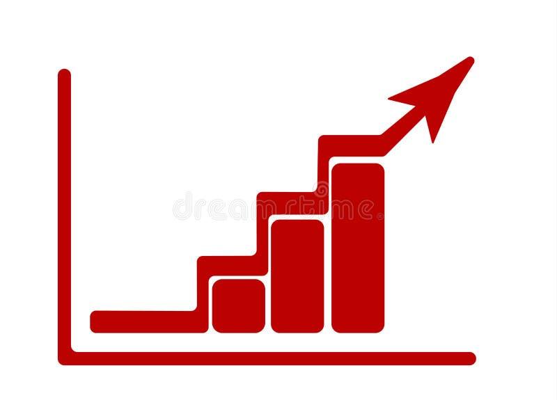 Crecer el gráfico con la flecha y el diagrama de levantamiento Icono plano rojo Ilustración del vector ilustración del vector