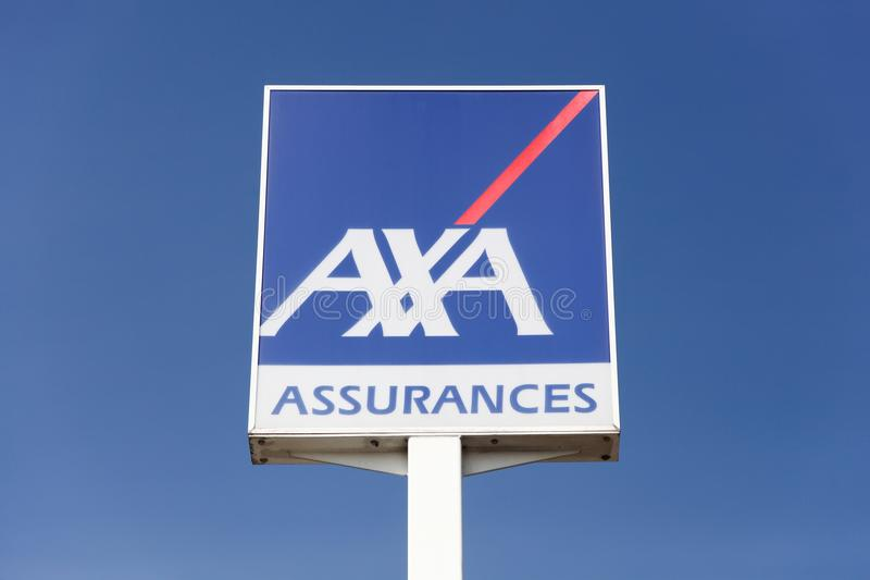 AXA logo on a panel. Creches, France - March 22, 2016: AXA logo on a panel. AXA is a French multinational insurance firm that engages in global insurance stock photo