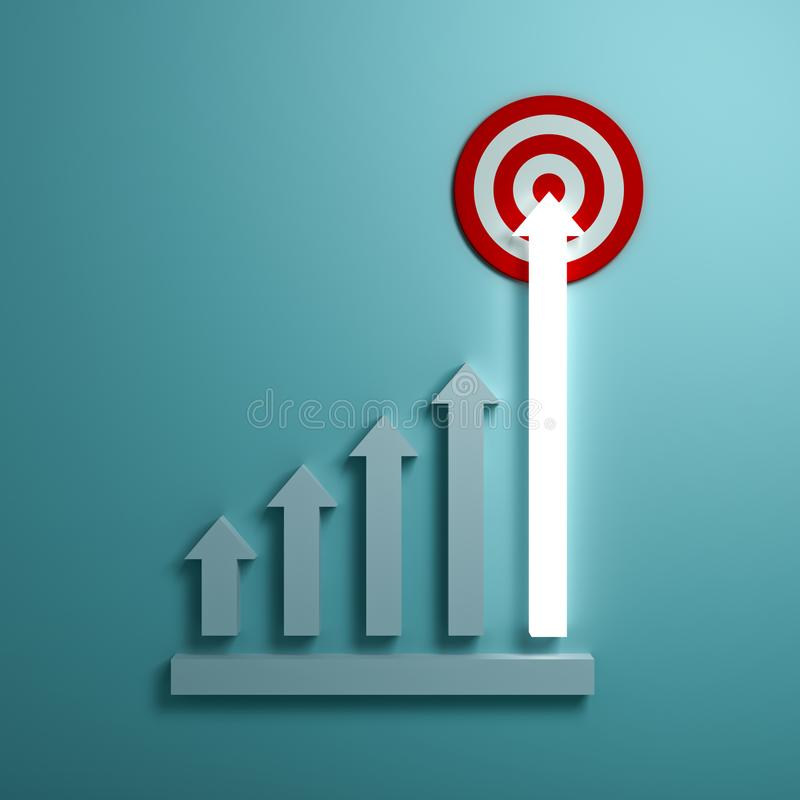 Creciendo la flecha ligera represente apuntar gráficamente a la blanco de la meta o al tablero de dardo rojo el concepto del nego libre illustration