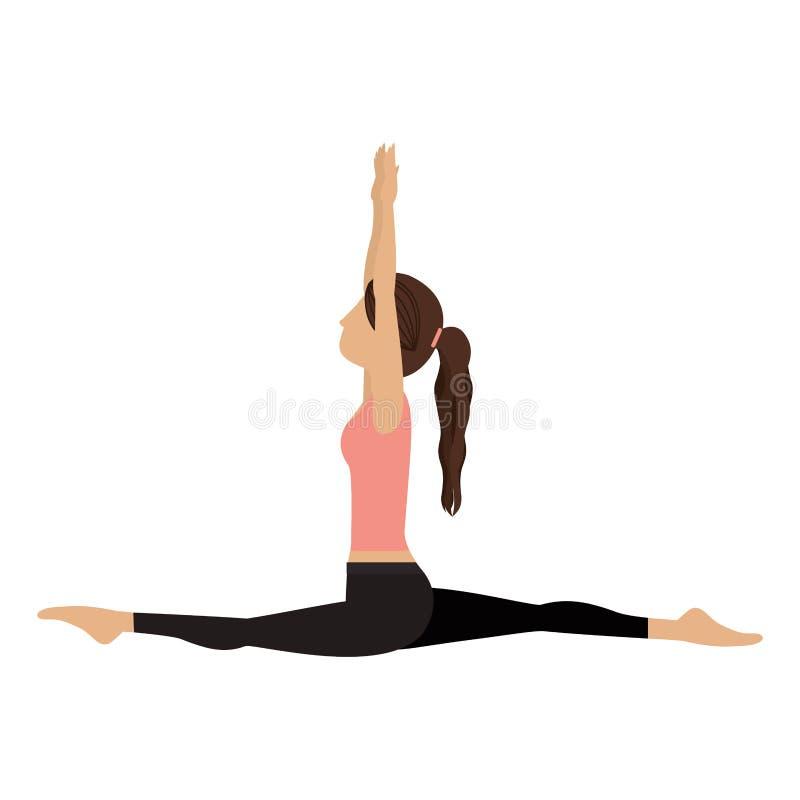 Creciente colorido de la actitud del mono de la mujer de la yoga stock de ilustración