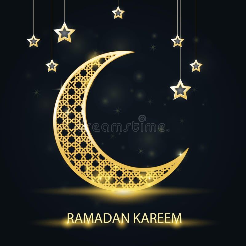 Creciente de oro con el modelo árabe - Ramadan Kareem que chispea stock de ilustración