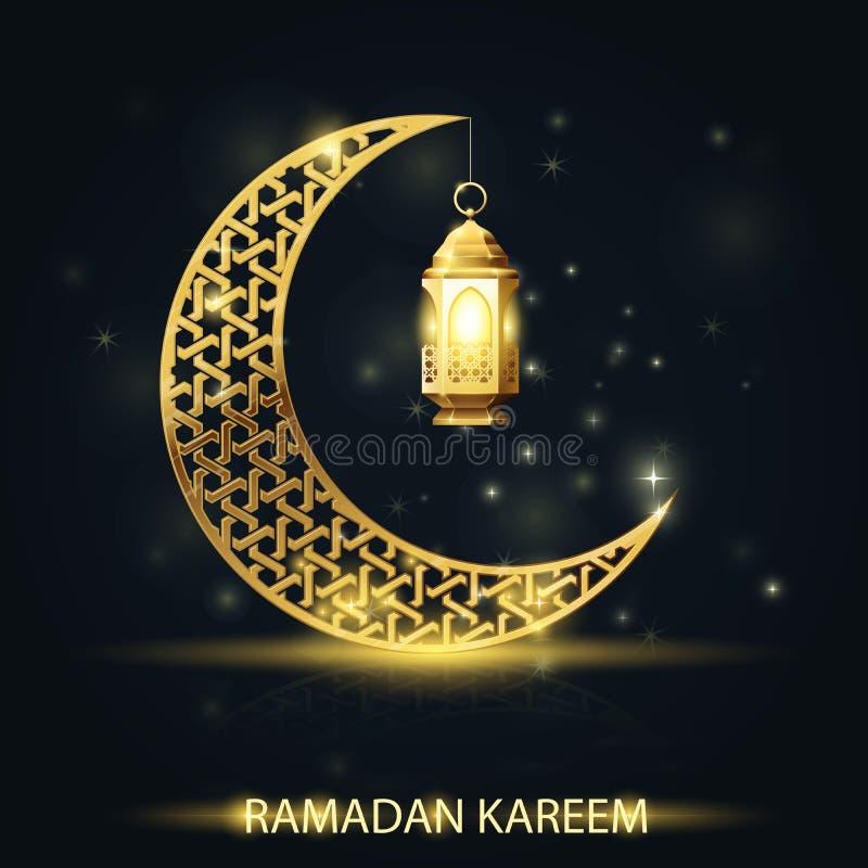 Creciente islámico con la linterna tradicional, tarjeta de felicitación de Ramadan Kareem stock de ilustración