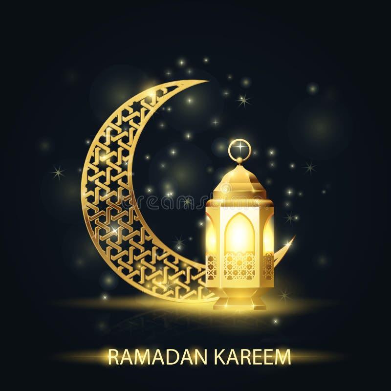 Creciente islámico y linterna cubiertos con el modelo árabe - Ramadan Kareem stock de ilustración