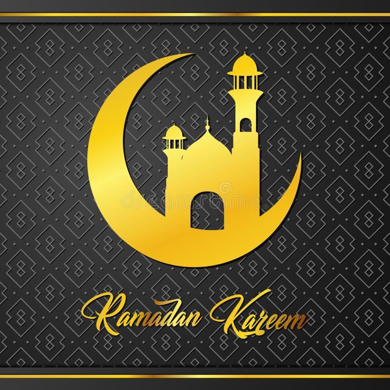 Creciente y mezquita islámicos para saludar de Ramadan Kareem ilustración del vector