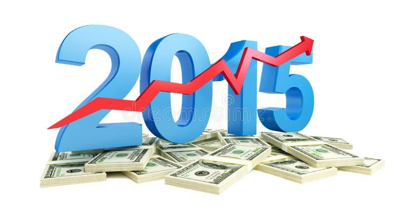 Crecimiento acertado de beneficios en el negocio en 2015 ilustración del vector