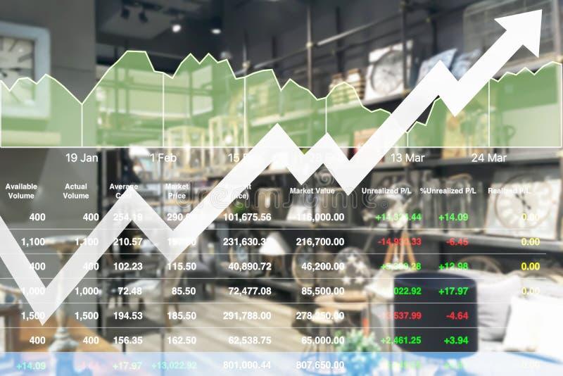 Crecimiento acertado del negocio del índice de los datos de la demostración financiera común del fondo en compras imagenes de archivo