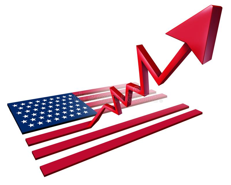 Crecimiento americano floreciente de la economía stock de ilustración