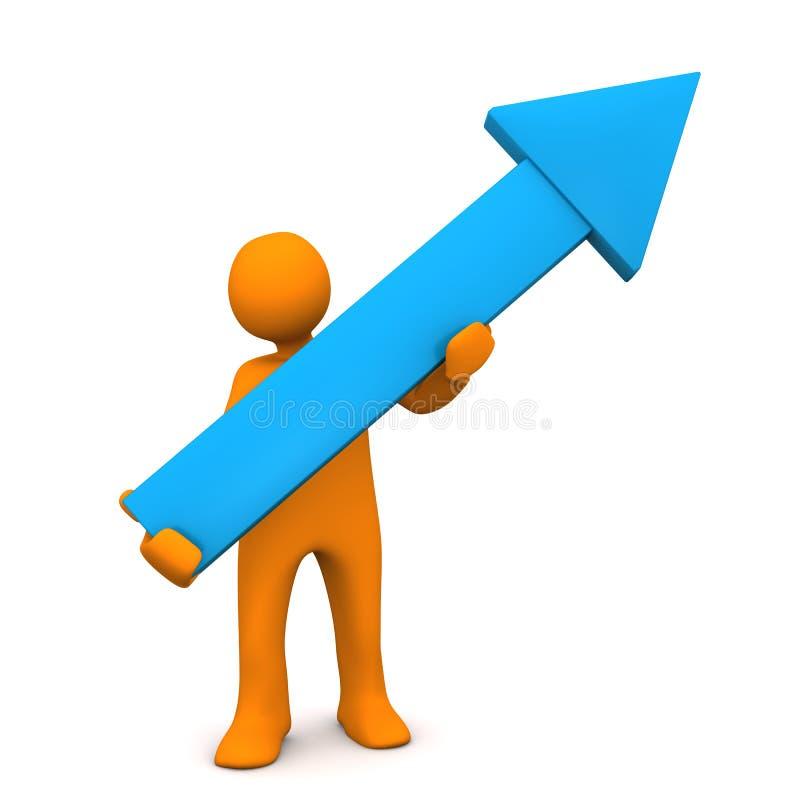 Crecimiento azul de la flecha del maniquí ilustración del vector