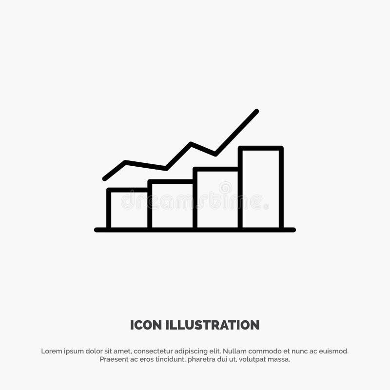 Crecimiento, carta, organigrama, gráfico, aumento, línea vector del progreso del icono ilustración del vector