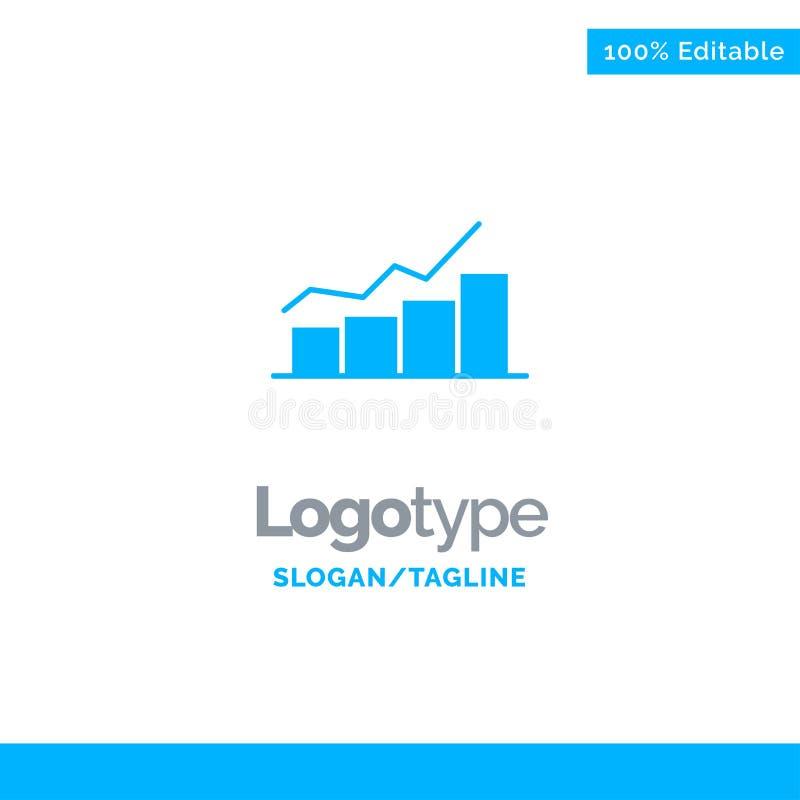 Crecimiento, carta, organigrama, gráfico, aumento, progreso Logo Template sólido azul Lugar para el Tagline ilustración del vector
