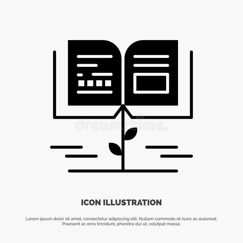 Crecimiento, conocimiento, conocimiento del crecimiento, icono negro sólido del Glyph de la educación libre illustration