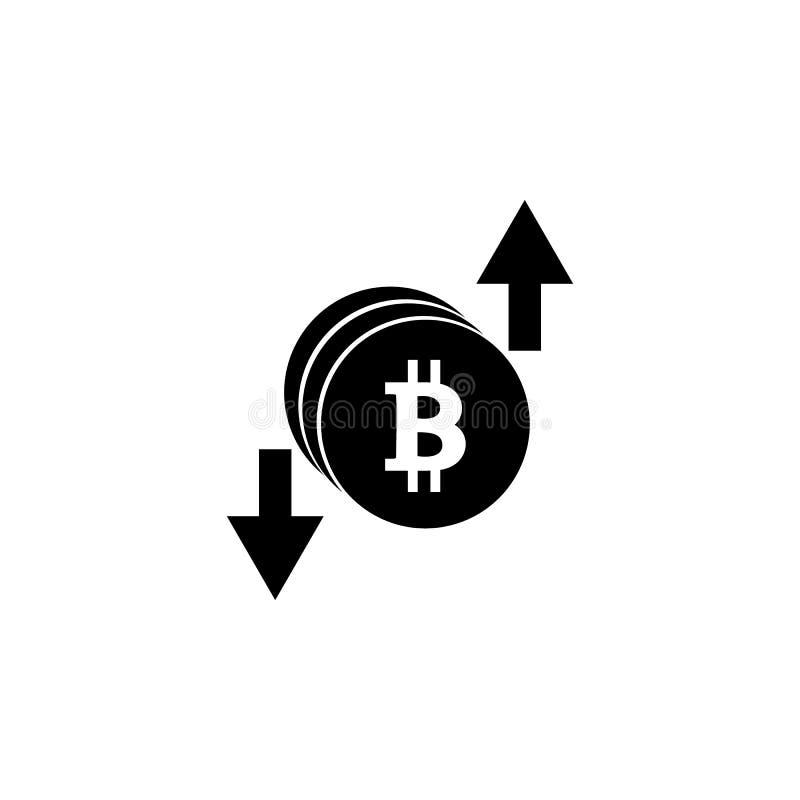 Crecimiento de Bitcoin, aumento y abajo, imagen común de la disminución, moneda digital, dinero del cryptocurrency, símbolo del b stock de ilustración