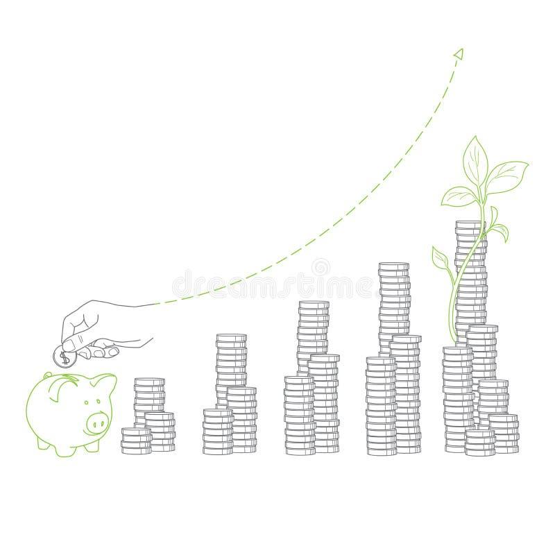 Crecimiento de dinero cientos cuentas de dólar que crecen en la hierba verde Pilas de monedas y de almácigo, guarras libre illustration