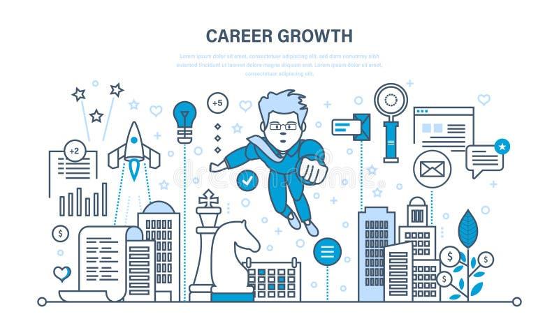 Crecimiento de la carrera, progreso en la educación, experiencia, mejorando calidades personales, características libre illustration