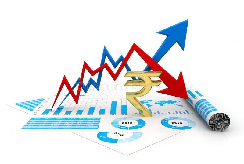 Crecimiento de la rupia india y concepto de la pérdida 3d rinden libre illustration