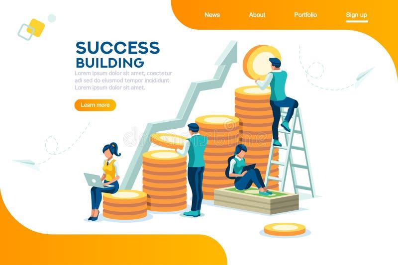 Crecimiento del banco y concepto financieros alternativos del éxito ilustración del vector