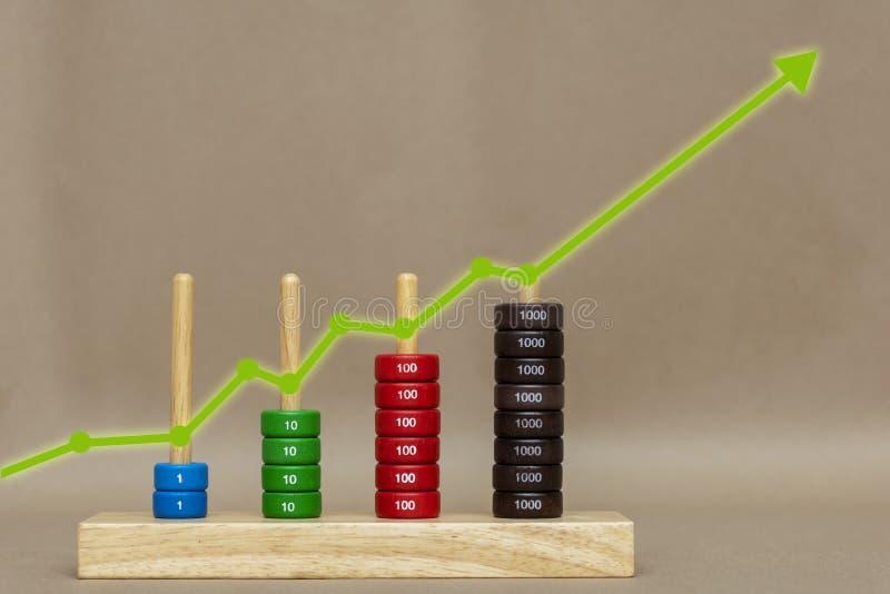 Crecimiento del gráfico y aumento del positivo de la carta imagen de archivo