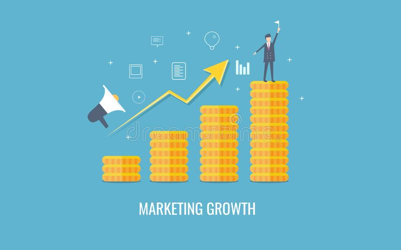 Crecimiento del márketing, ingresos del negocio del aumento, hombre de negocios que alcanza el punto del beneficio Bandera plana  stock de ilustración