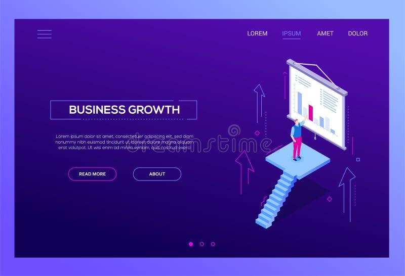 Crecimiento del negocio - bandera isométrica moderna del web del vector stock de ilustración
