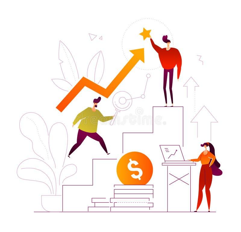 Crecimiento del negocio - ejemplo colorido del estilo plano del diseño ilustración del vector