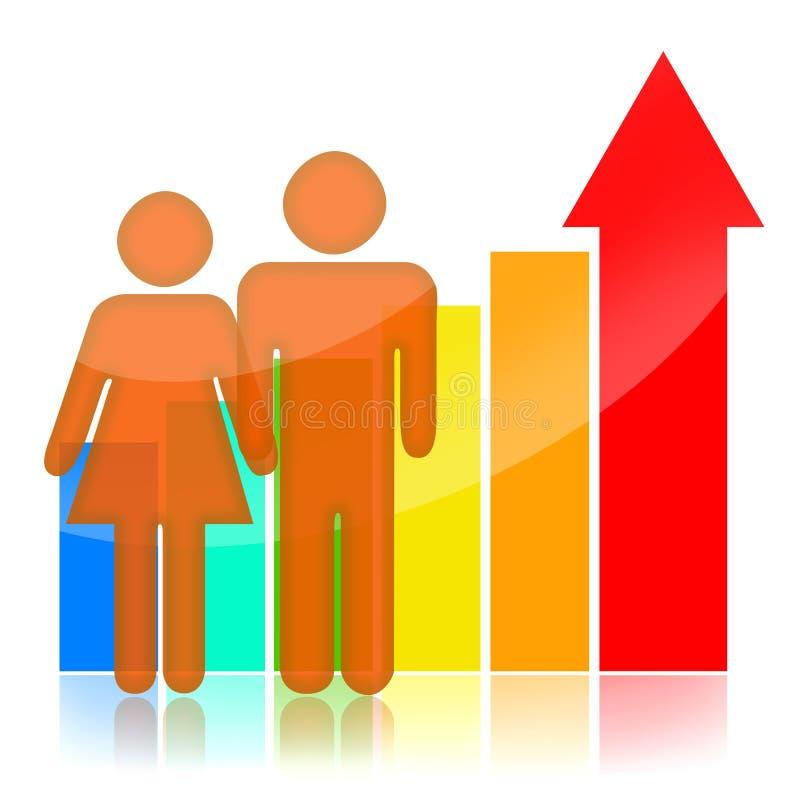 Crecimiento demográfico ilustración del vector