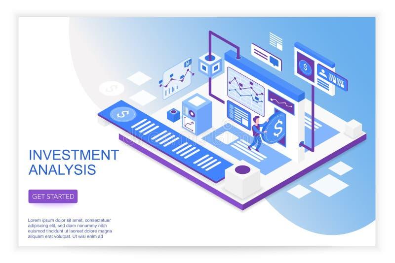 Crecimiento e investigación, análisis de la gestión de estrategia empresarial, aterrizaje isométrico moderno 3d de las soluciones libre illustration