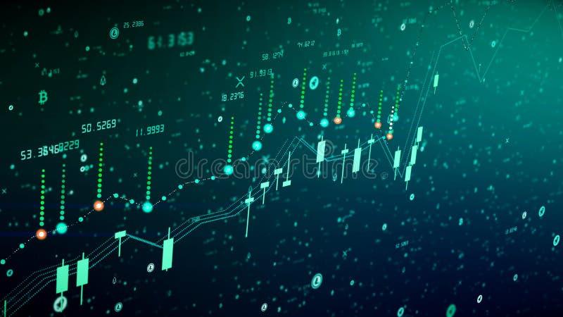 Crecimiento financiero del diagrama en el mercado disparatado, mostrando beneficio del crecimiento y del aumento ilustración del vector