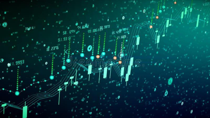 Crecimiento financiero del diagrama en el mercado disparatado, mostrando beneficio del crecimiento y del aumento stock de ilustración