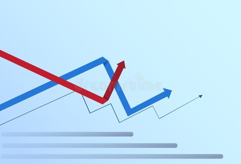 Crecimiento financiero del negocio de Infographic de las finanzas del gráfico de la carta determinada de las flechas ilustración del vector