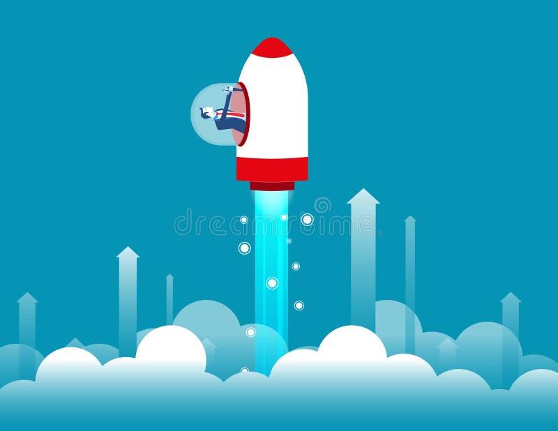 Crecimiento Hombre de negocios dentro de un cohete y de un vuelo para arriba Ejemplo del vector del negocio del concepto libre illustration