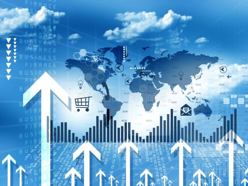 Crecimiento móvil del negocio de demostración de las flechas ilustración del vector