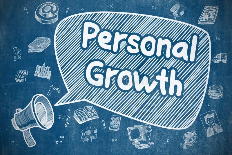 Crecimiento personal - ejemplo del garabato en la pizarra azul ilustración del vector