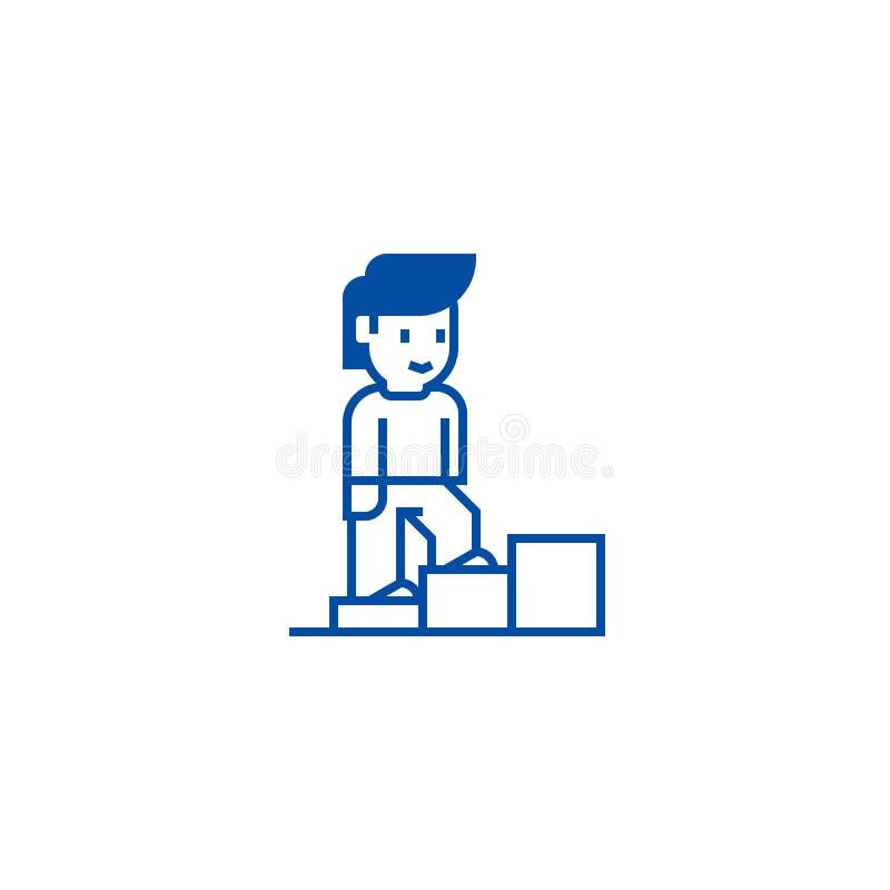 Crecimiento personal, escaleras del hombre encima de la línea concepto del icono Crecimiento personal, escaleras del hombre encim ilustración del vector