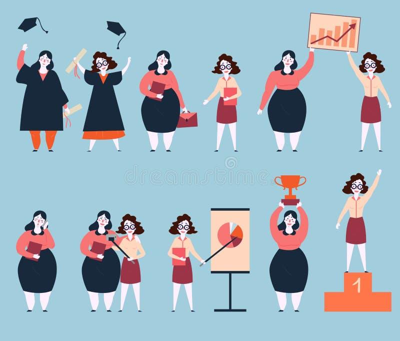 Crecimiento rápido de la carrera de dos amigos de la mujer éxito libre illustration