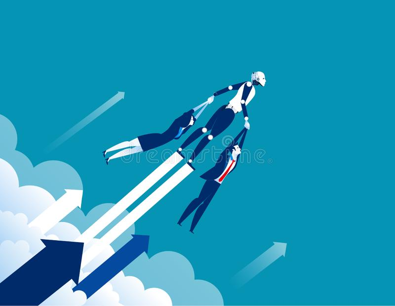 Crecimiento Robot al éxito Ejemplo del vector del negocio del concepto stock de ilustración