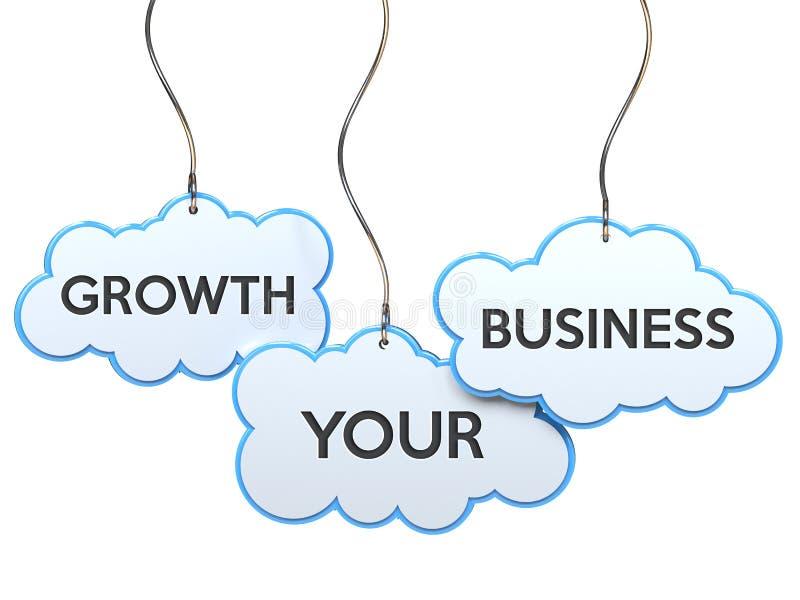 Crecimiento su negocio en bandera de la nube stock de ilustración