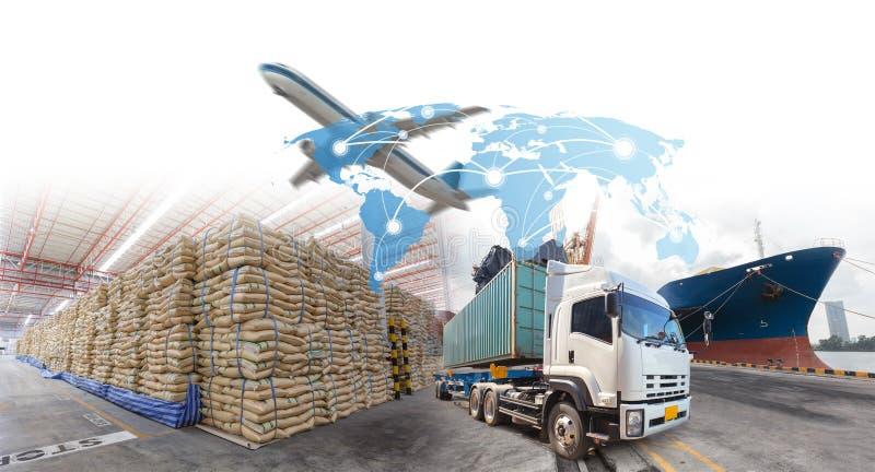 Crecimiento y progreso del negocio para las importaciones/exportaciones de la logística foto de archivo