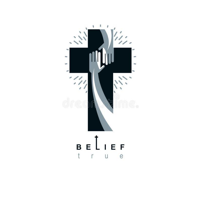Credenza vera trasversale di Cristianità nel simbolo di vettore di Gesù, icona cristiana di religione La mano del credente estend illustrazione di stock