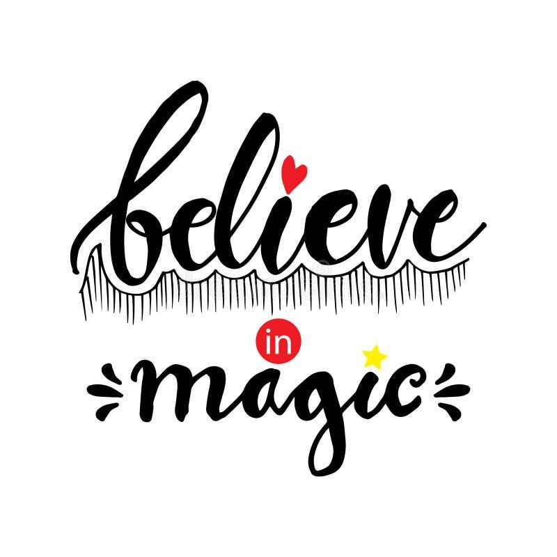 Credi nell'iscrizione magica della mano illustrazione di stock
