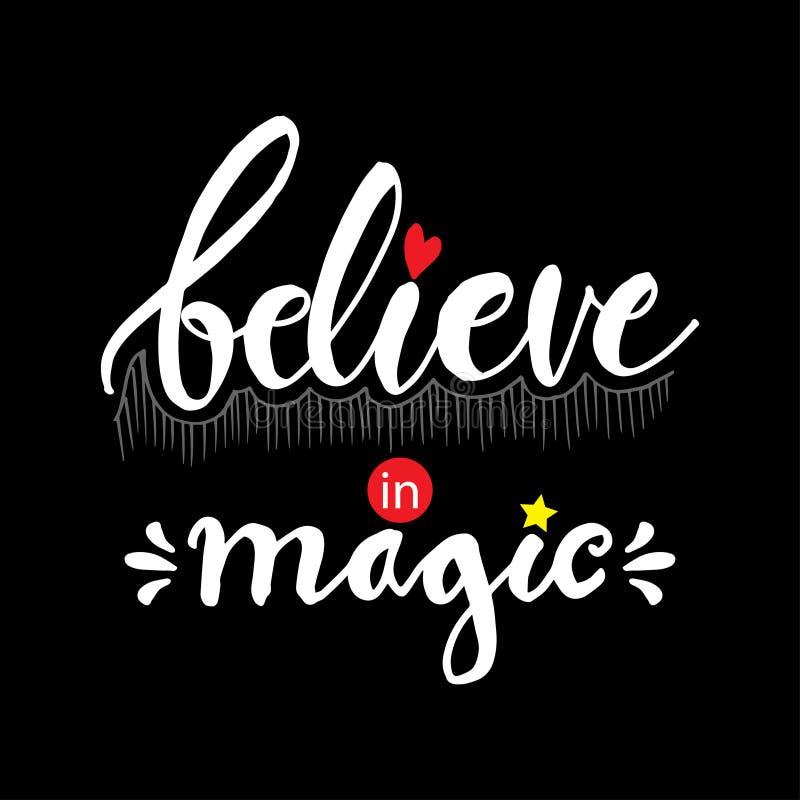 Credi nell'iscrizione magica della mano royalty illustrazione gratis